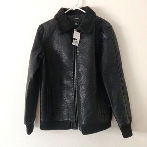 NWT Forever 21 Black Faux Leather Jacket